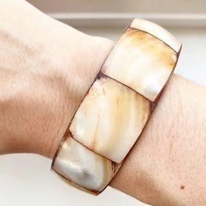 Vintage brown & cream shell segment bracelet